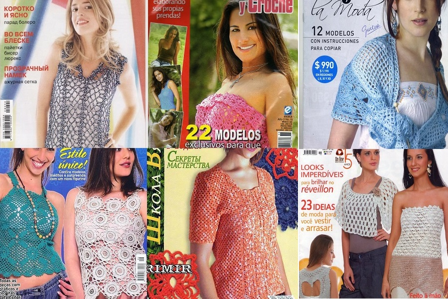Revistas tejidos en Crochet. Colección de 6 revistas de moda crochet