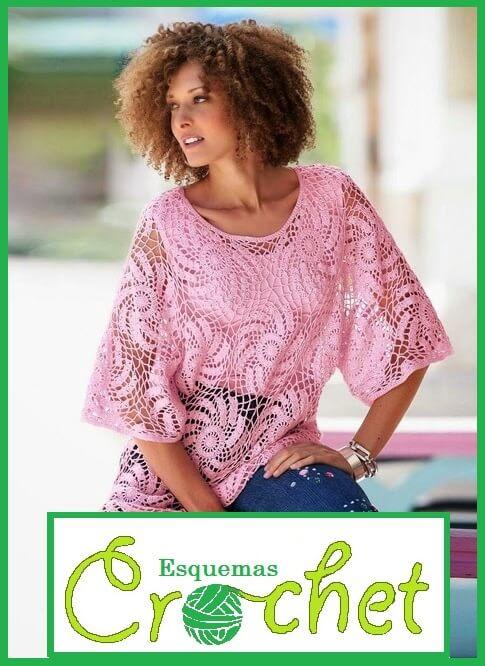 Un impresionante Esquema de crochet para blusa encajes
