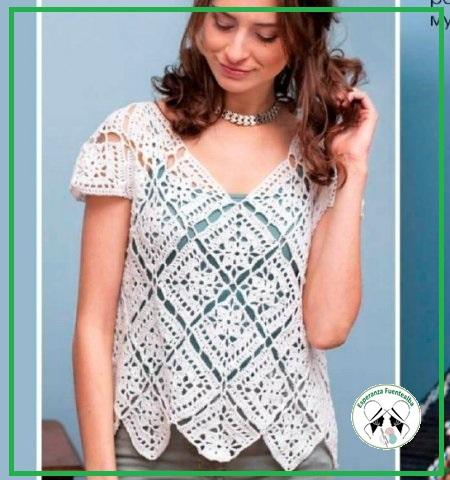 Blusas tejidas con gancho Modelo Luisa, Comparto esquemas