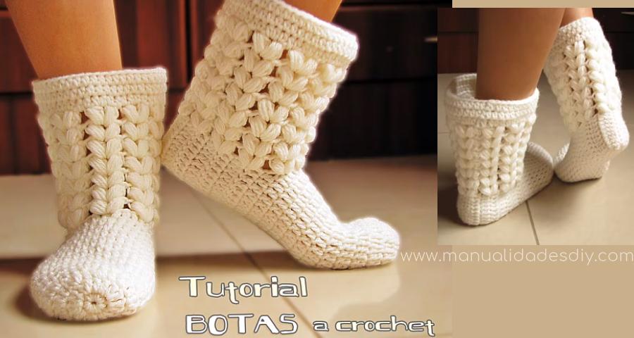 Pantuflas Botas a Crochet todos los talles - Manualidades Y DIYManualidades Y DIY