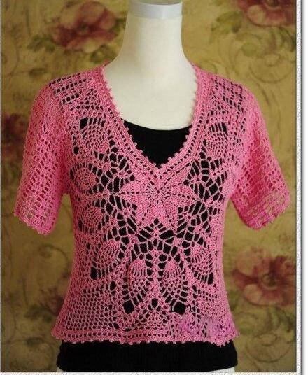 ▷ Esquema blusa crochet manga corta - ⭐️Tejidos al Crochet⭐️